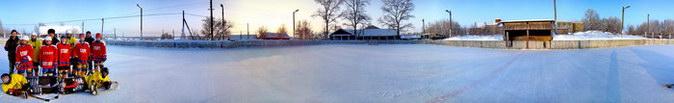 Сегодня - для Вас зимняя панорама с хоккейной коробки.