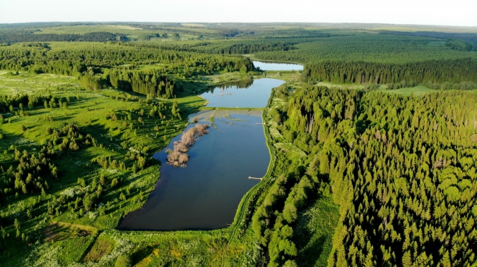 Каскад прудов на реке Воя